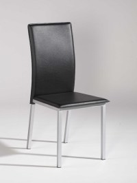 Simple Design Black Leather Dining Chair with Silver Legs ...