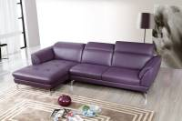 Top Grain Purple Sectional Sofa Tufted Seats