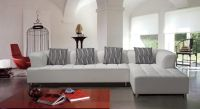White Tufted Contemporary Bonded Leather Sectional Sofa ...