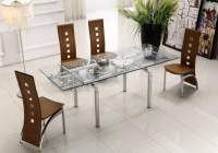 Extendable Clear Glass Top Leather Modern Dining Table ...