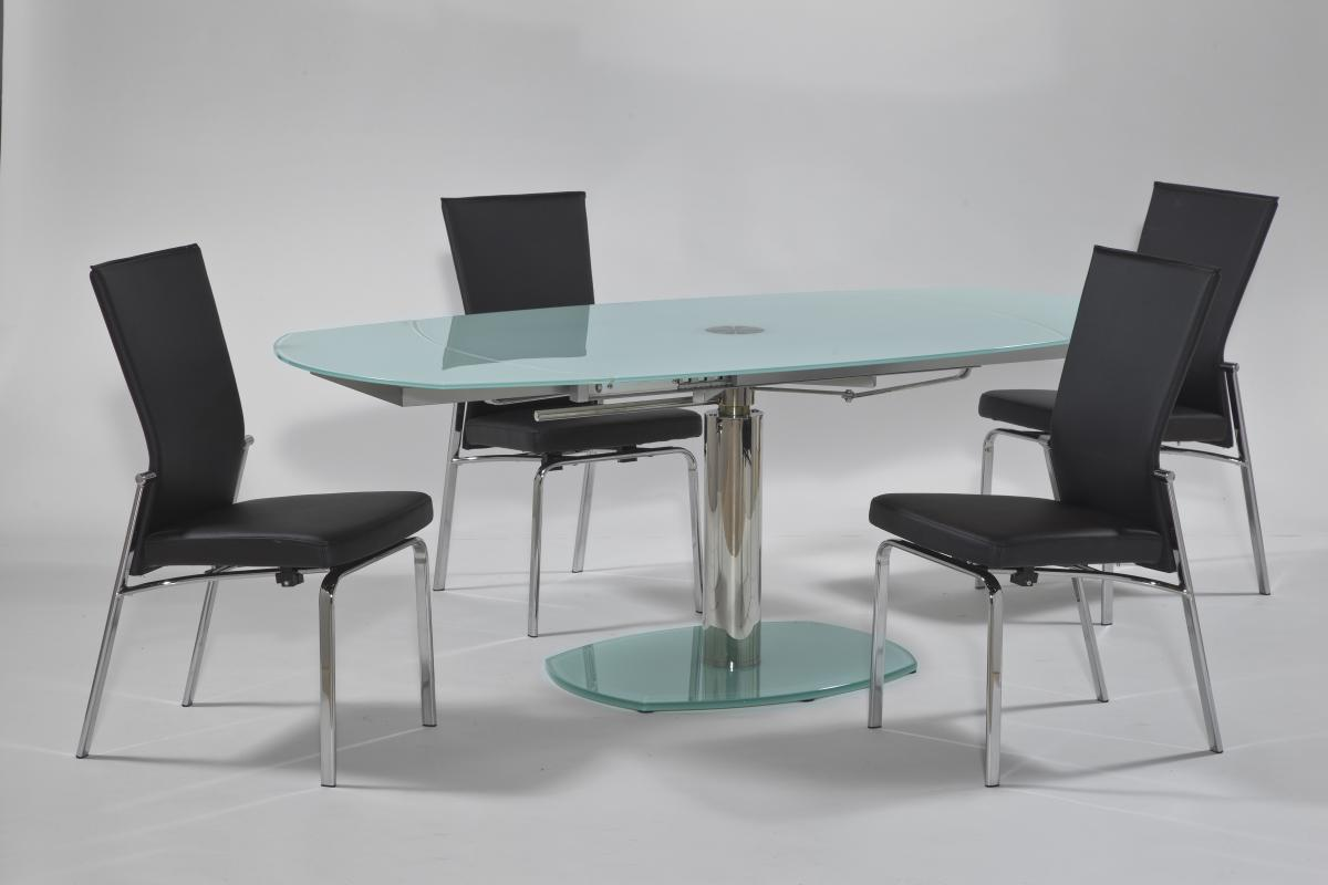 Extendable Rounded Frosted Glass Top Leather Modern Dining