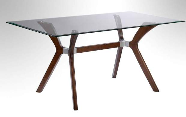 dark walnut dining table with tempered rectangular glass top