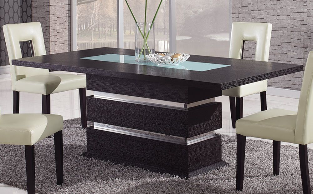 Brown Contemporary Pedestal Dining Table With Glass Inlay