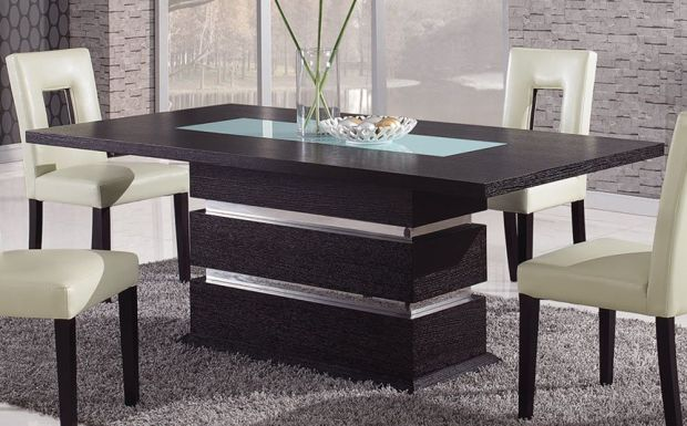 brown contemporary pedestal dining modern table