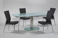 Oval Frosted Extendable Dining Table Oakland California CHTAS