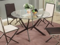 Contemporary Beveled Edge Round Modern Glass Dining Table ...