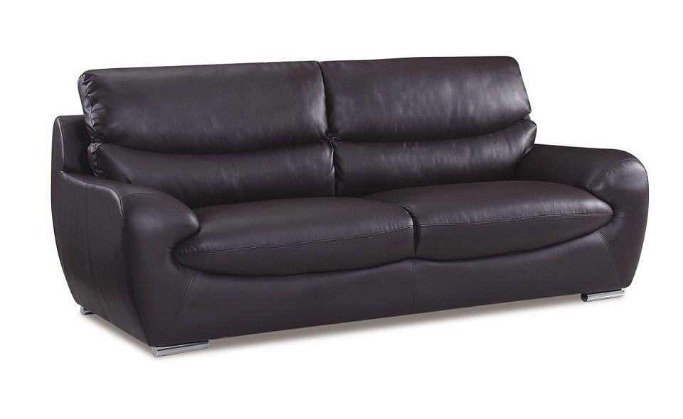 Chocolate bonded leather contemporary sofa prime classic