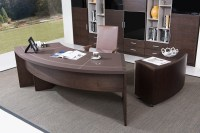 Modern Executive Office Desk with Cabinet in Oak Wood ...