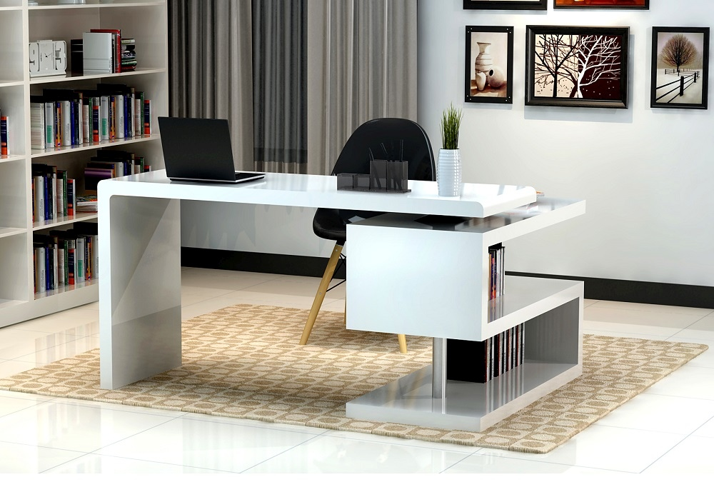 White Glossy Finished Office Desk with S Shaped Bookcase Seattle