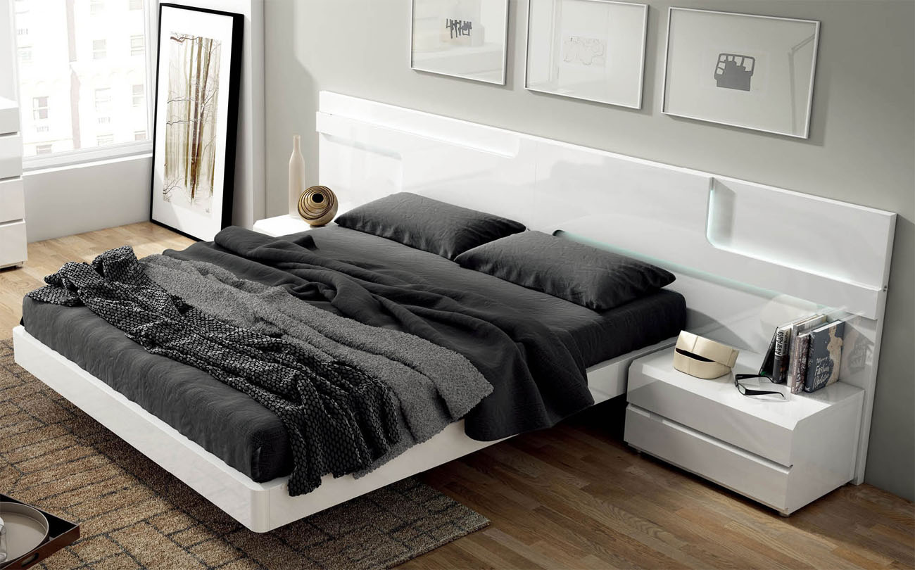 Modern platform beds master bedroom furniture lacquered made in spain wood modern platform bed with extra storage