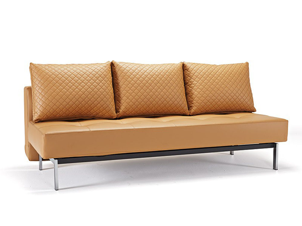 Deluxe Contemporary Camel Leather Sofa Bed Buffalo New