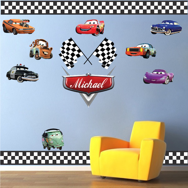 Race Car Bedroom Wallpaper Murals Personalized Boys Race Car Name Decal Car Wall Decals