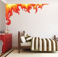 Bedroom Flame Wall Mural Decal - Boys Room Corner Flame ...