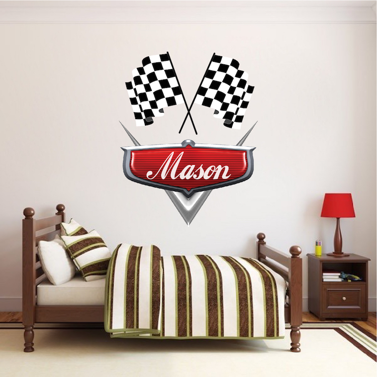 Classic Car Wallpaper Murals Personalized Boys Race Car Name Decal Car Wall Decals