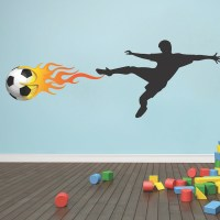 Soccer Player Flames Wall Decal Mural - Sports Stickers ...