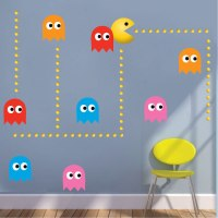 Modern Pac Man Wall Decal - Video Game Wall Decal Murals ...