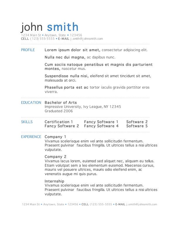 resume word samples - Selol-ink