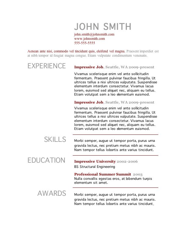 One Page Resume Template Free Resume Template Microsoft Word 7 - example of one page resume