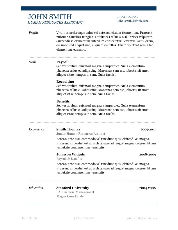 7 Free Resume Templates - word 2010 resume template