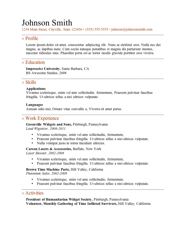 Resume Example Word - Examples of Resumes