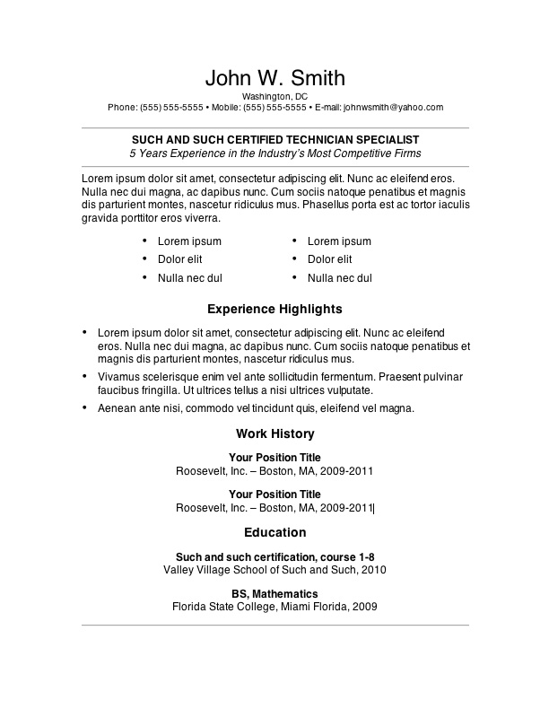 resume format template word - Onwebioinnovate - resumes templates word