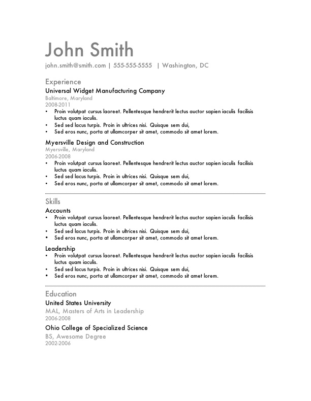 Word Resume Examples - Examples of Resumes - Sample Resume Templates Word