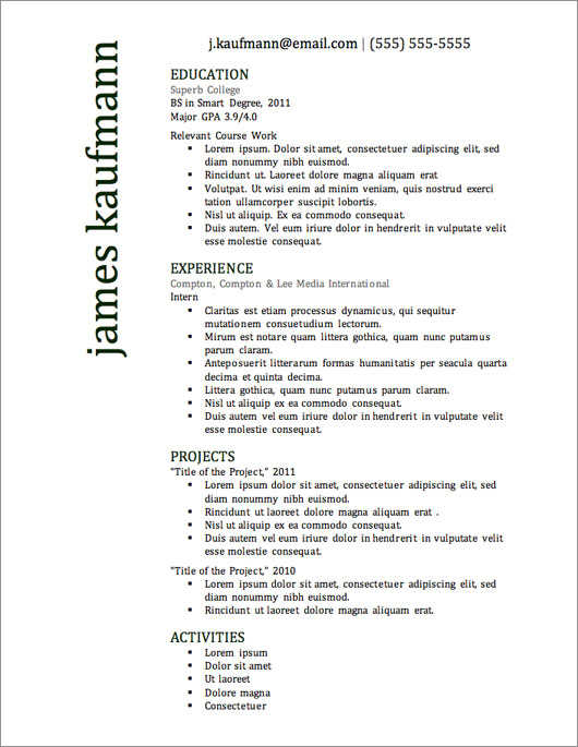 12 Resume Templates for Microsoft Word Free Download Primer - Effective Resume Templates