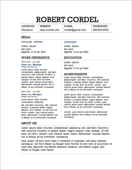 12 Resume Templates for Microsoft Word Free Download Primer - job resume templates free