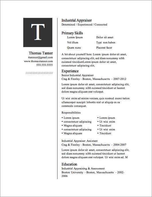 12 Resume Templates for Microsoft Word Free Download Primer - Resume Layout