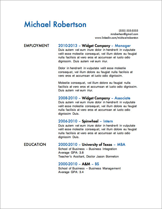 12 Resume Templates for Microsoft Word Free Download Primer - Sample Resume Templates For Students