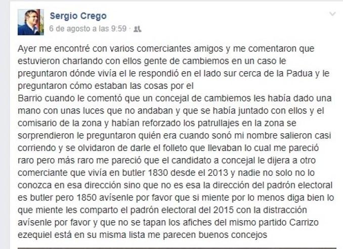 Posteo de Crego