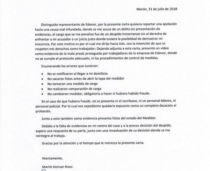 Carta a EDENOR