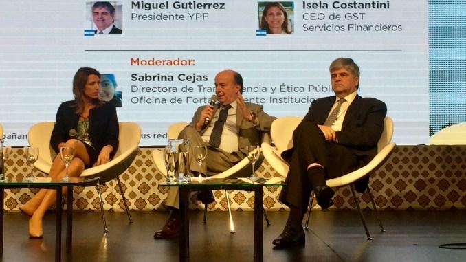 El ingeniero José Luis Inglese, presidente de AySA, durante su exposición en el congreso internacional.