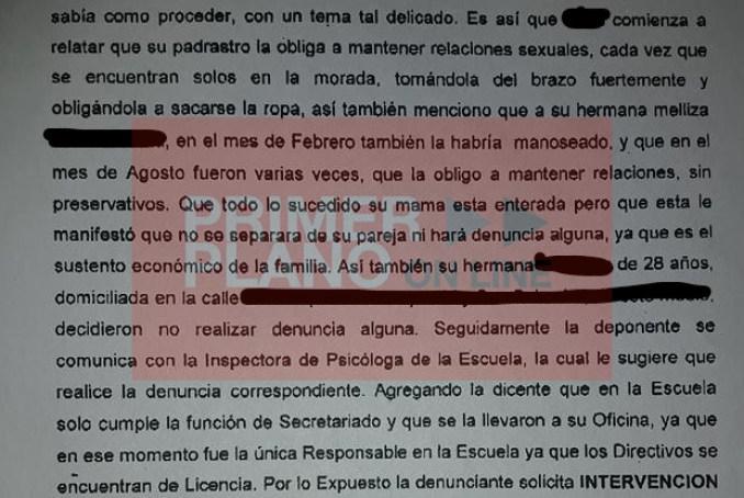 Parte del texto de la denuncia original presentada por una de las mellizas en compañía de la responsable de la escuela a la que asistía