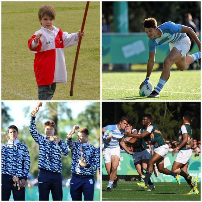 Matteo x 4: en sus inicios, como mini rugbier de Matreros; hoy como Pumita, medallista olímpico y en plena acción de juego