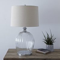 Ribbed Glass Table Lamp with Natural Shade  Primrose & Plum