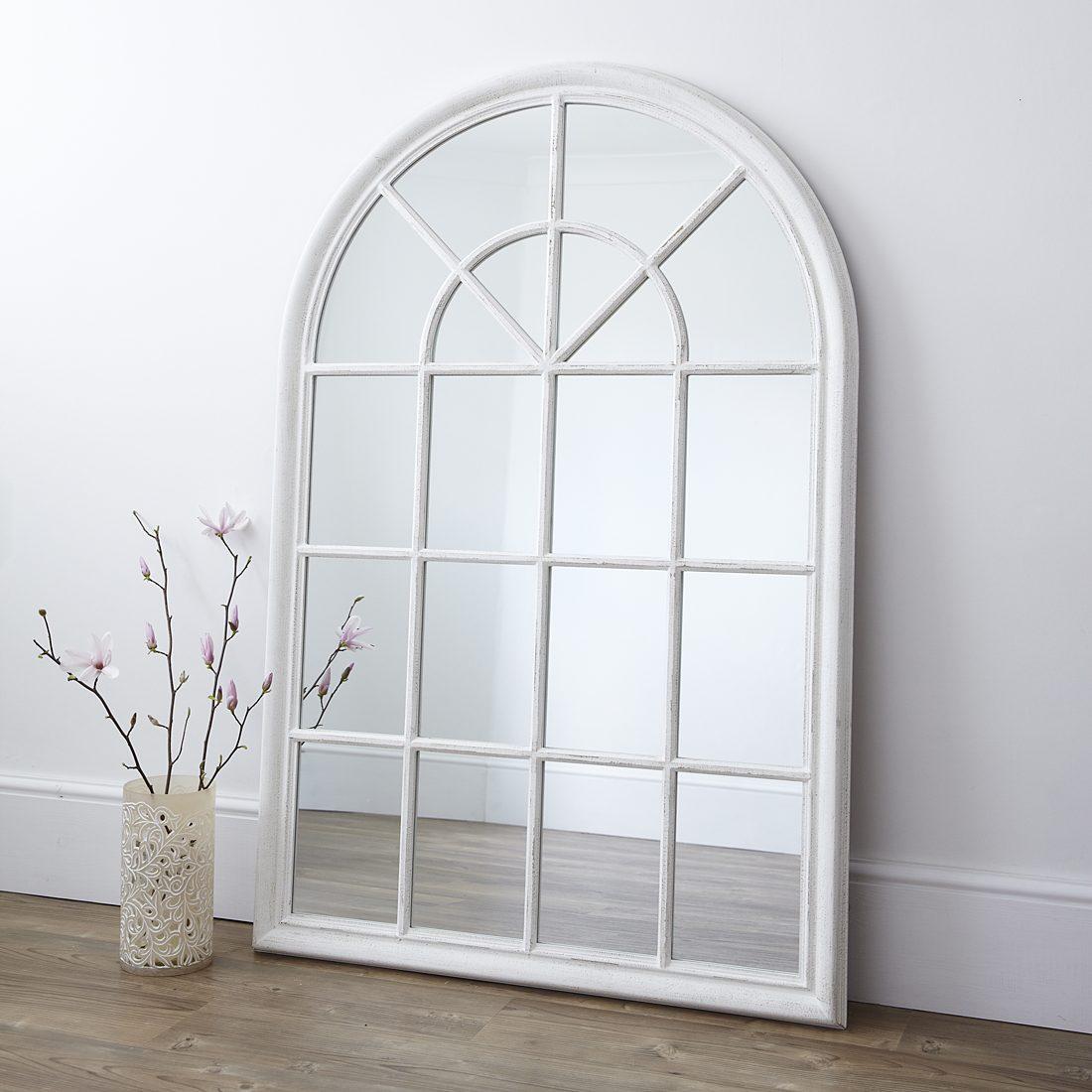 White Arched Window Wall Mirror  Primrose & Plum
