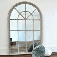 Grey Arched Window Mirror  Primrose & Plum