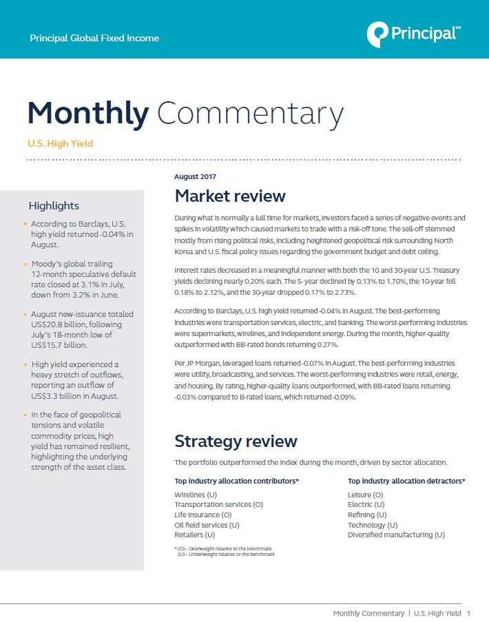 Global High Yield Monthly Market Commentary August 2017 www