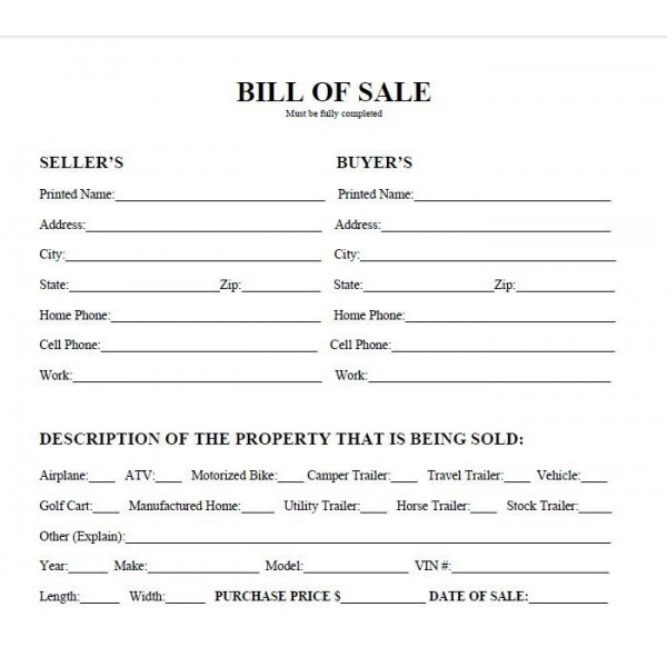 Bill Of Sale Real Estate Forms