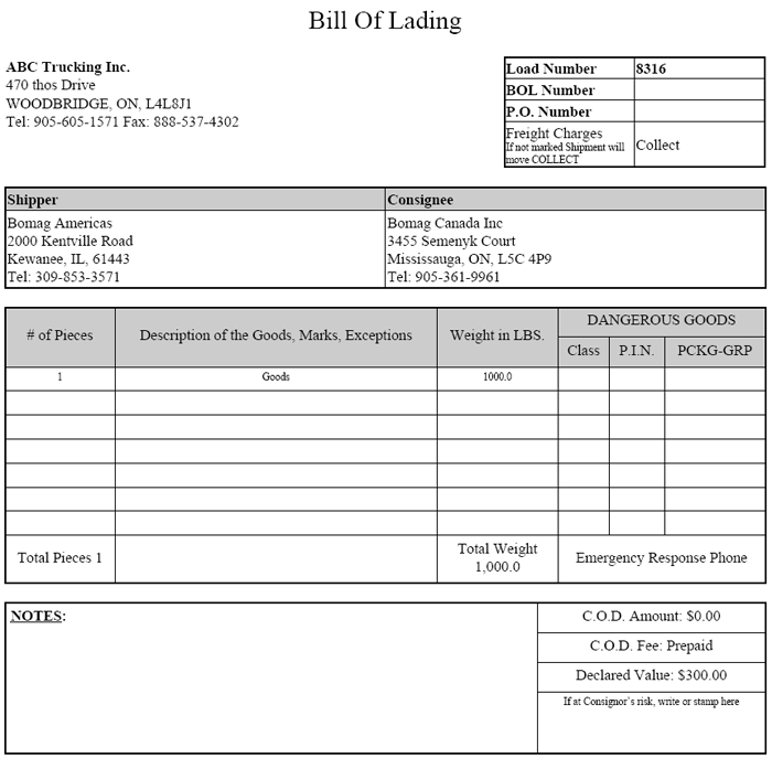 Bill Of Lading Template Form Pdf Download Blank Bill Of Lading Real Estate Forms