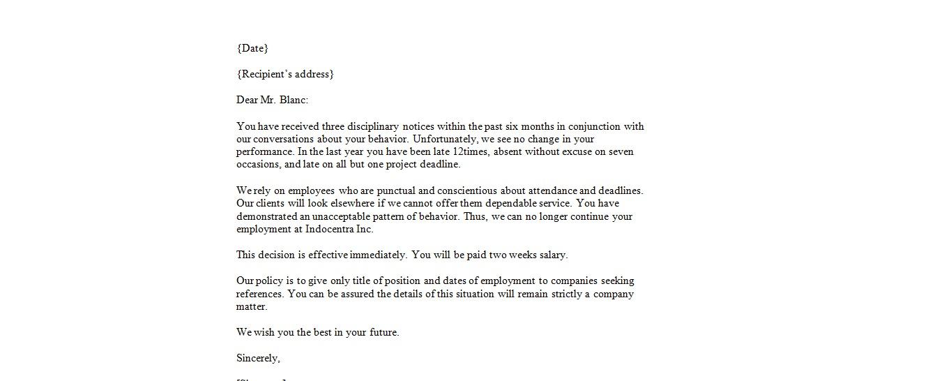 friendly termination letter