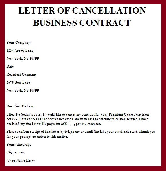 Sample Letter Of Cancellation Of Business Contract Contract Termination Letter Real Estate Forms