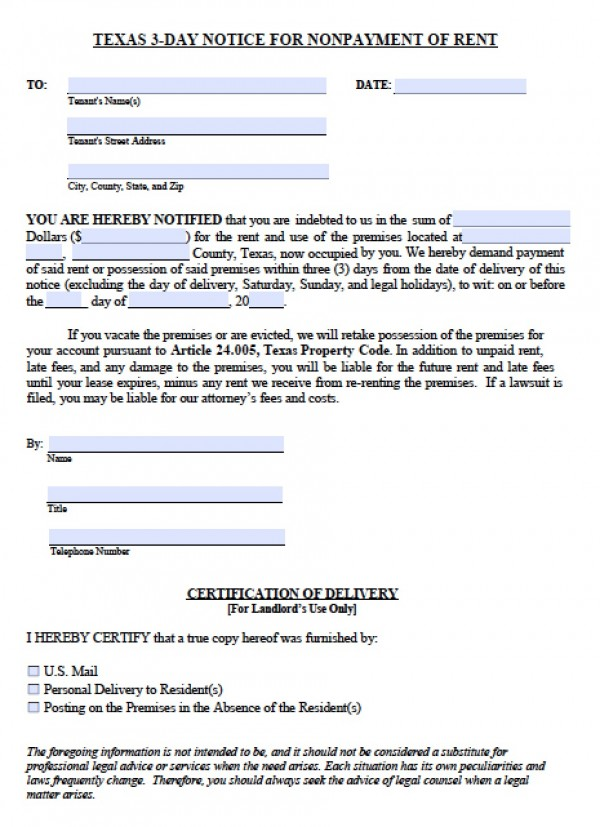 eviction notice form texas - Klisethegreaterchurch
