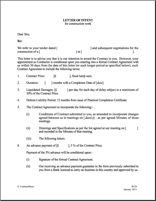 Agreement Letter For House Renovation Home Loan Hdfc Of Intent Sample