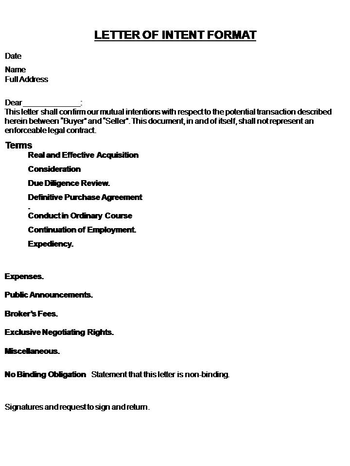Letter Of Intent Template Real Estate Forms - letter of intent to purchase goods