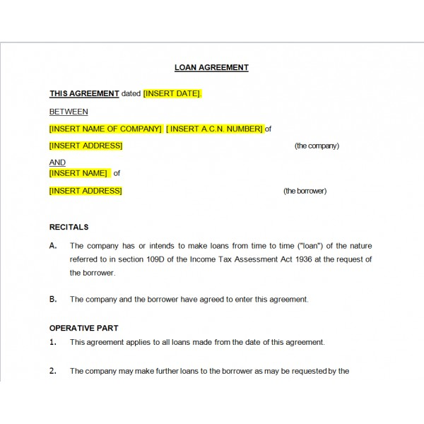 Loan Agreement Real Estate Forms - company loan agreement template