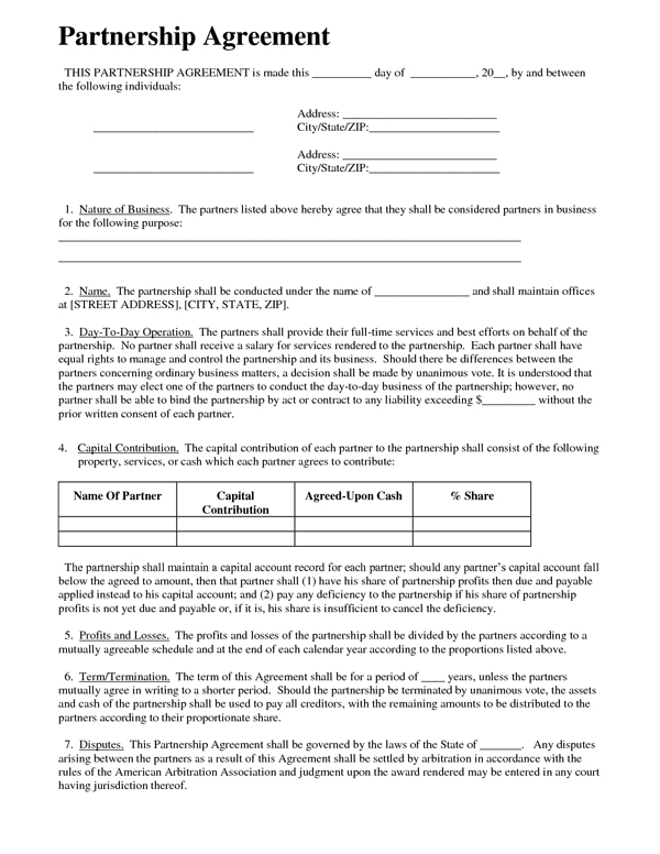 partnership contracts templates free - Kenicandlecomfortzone