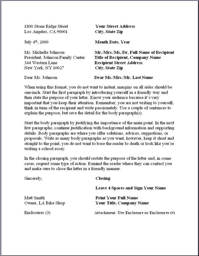 proper professional letter format - Delliberiberi - professional business letter format