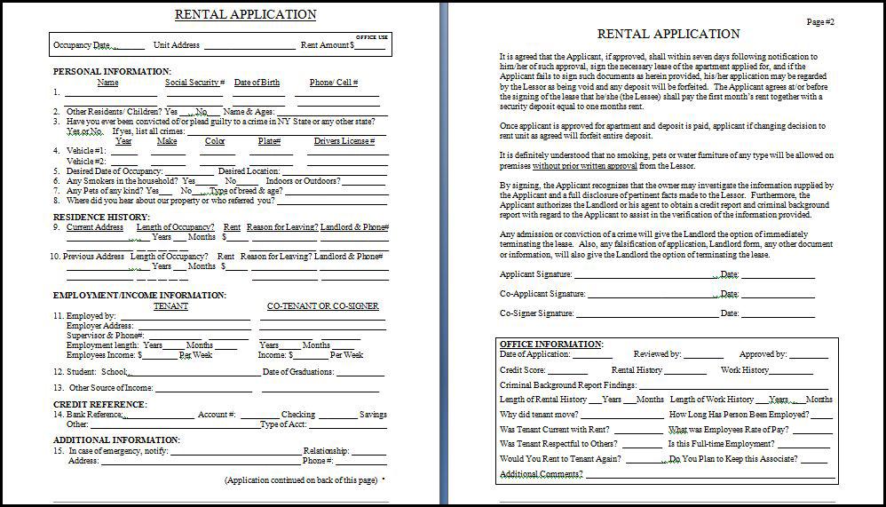Rental Application Real Estate Forms - rental application pdf